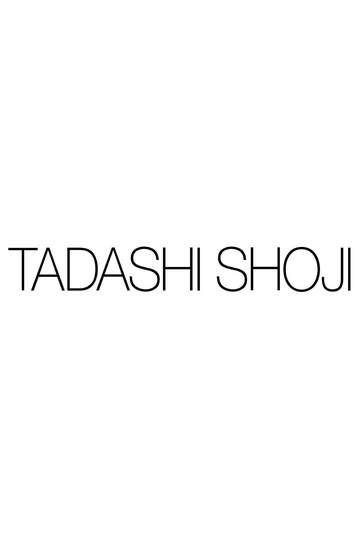 Kayla Ruffle Neckline Jacquard Gown   Tadashi Shoji