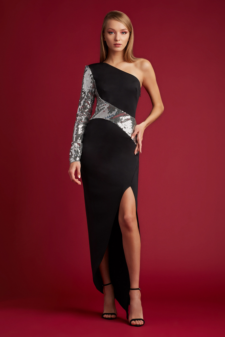 Foxie One-Shoulder Gown