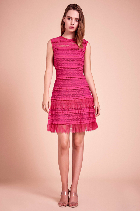 Pointer Pleated Ruffle Dress
