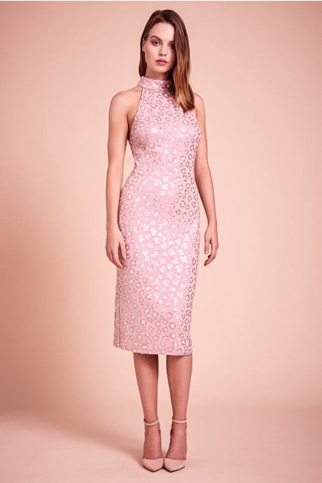 Gibson Cheetah Embroidered Midi Dress
