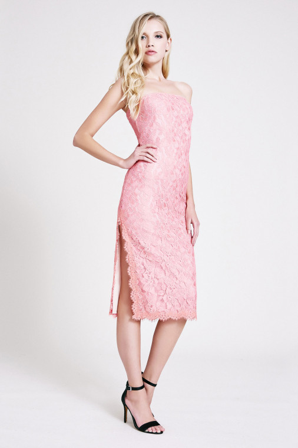 Gisele Lace Strapless Midi Dress