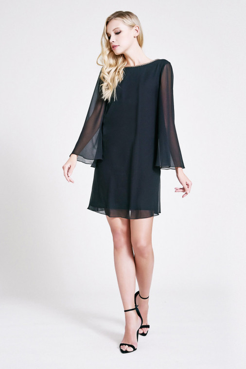 Naomi Chiffon Long-Sleeve Mini Dress