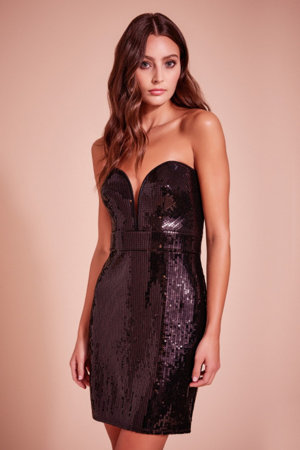 Adriana Sequin Strapless Mini Dress