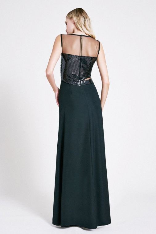 Kate Crepe Sequin Sleeveless Gown