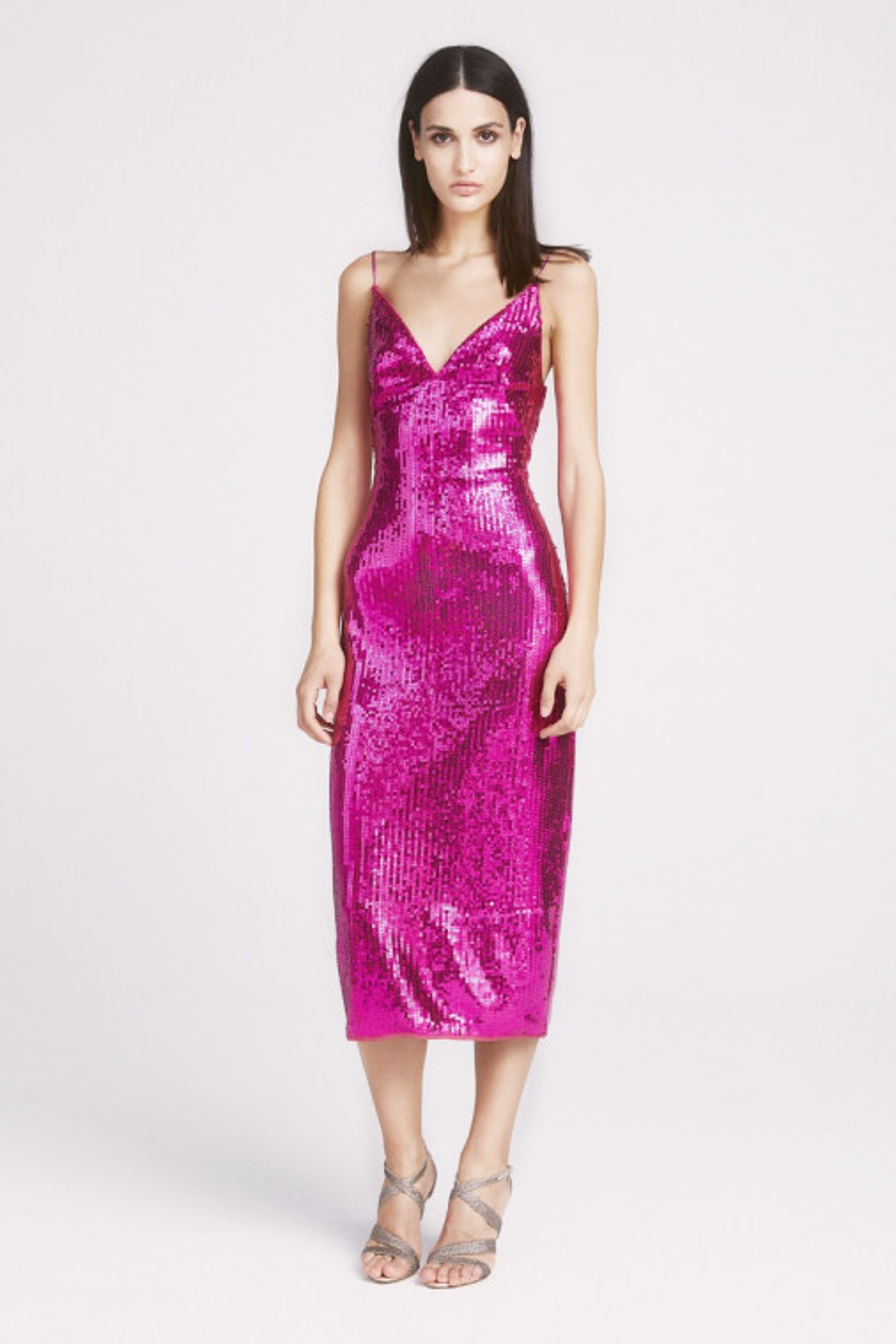 Kylie Sequin Strap Midi Dress