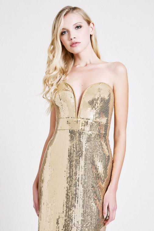 Adriana Sequin Strapless Gown