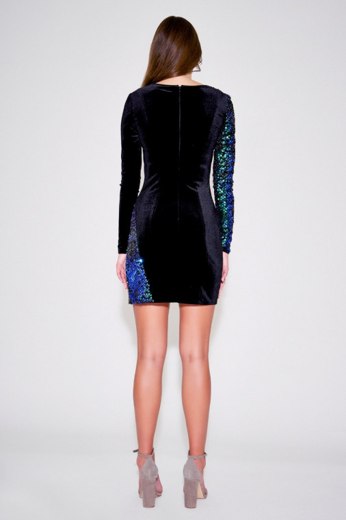 Rosie Long-Sleeve Sequin Velvet Mini Dress