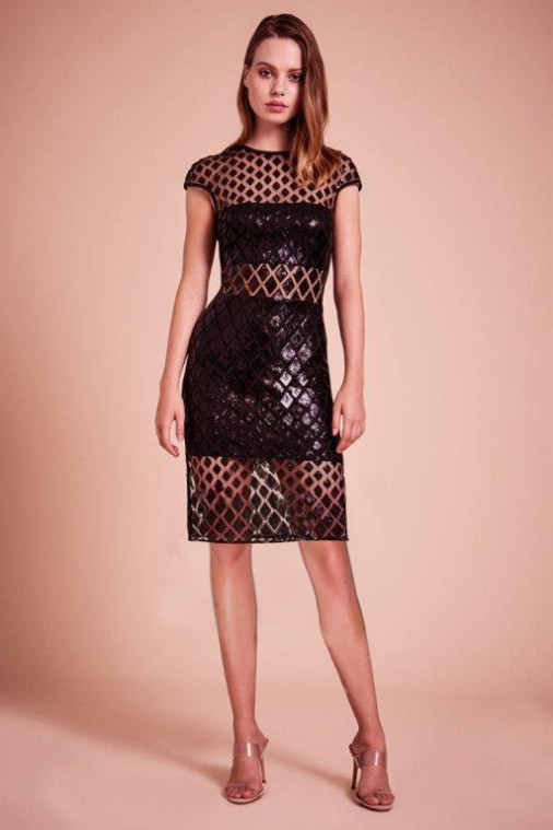 SHO The Label - Juvet Black Diamond Sequin Dress
