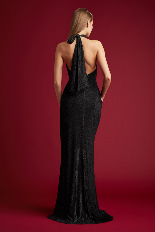 Daryl Draped Halter Gown